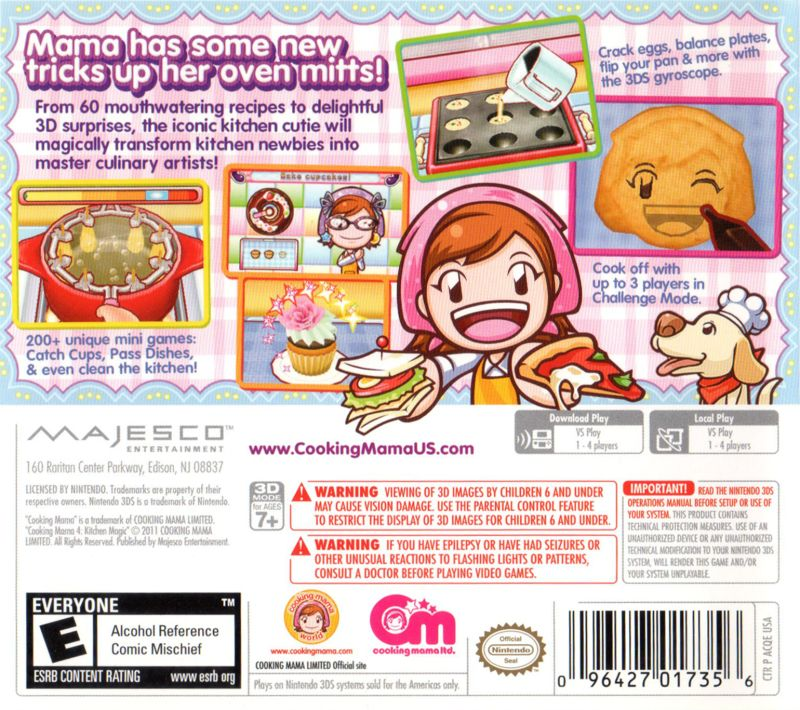 Cooking Mama 4 Kitchen Magic 2011 Nintendo 3ds Box Cover