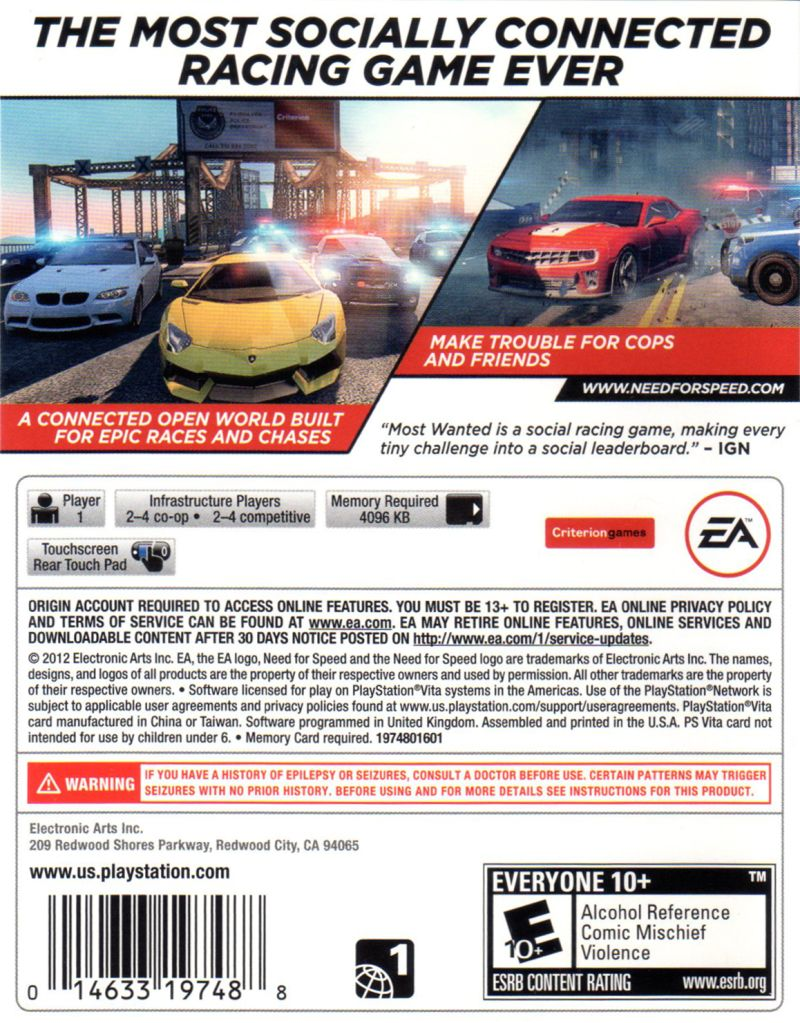 Need for Speed: Most Wanted (2012) PS Vita box cover art