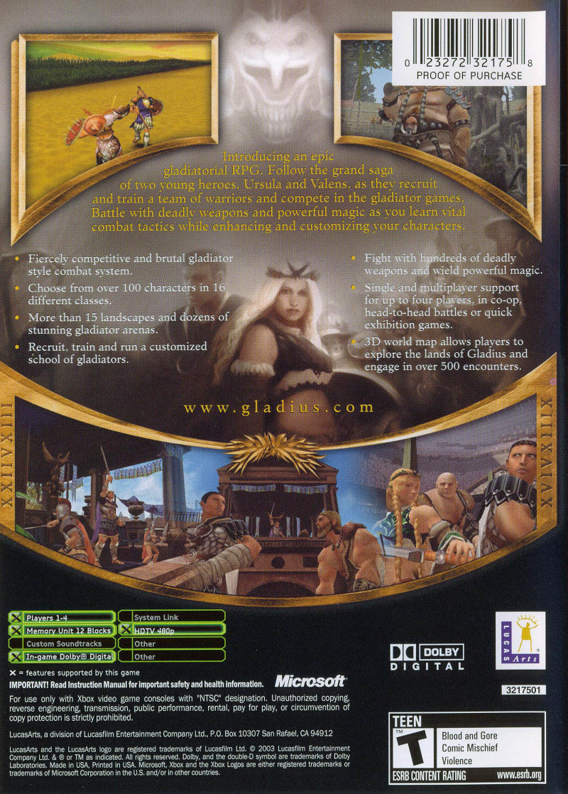 Gladius Xbox Back Cover