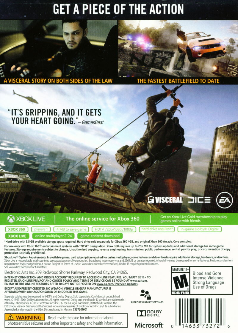 Xbox 360 Game Cover Back Battlefield: Hardline ...