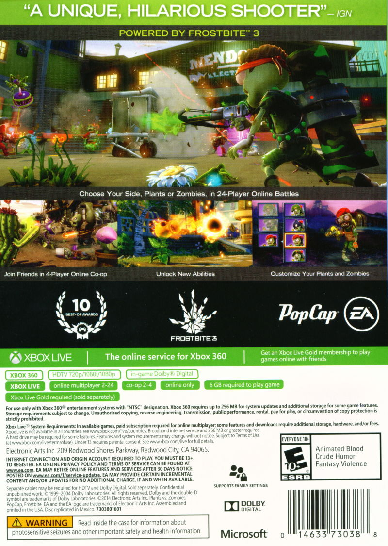 plants vs zombies garden warfare xbox 360 back cover - Plants Vs Zombies Garden Warfare Xbox 360