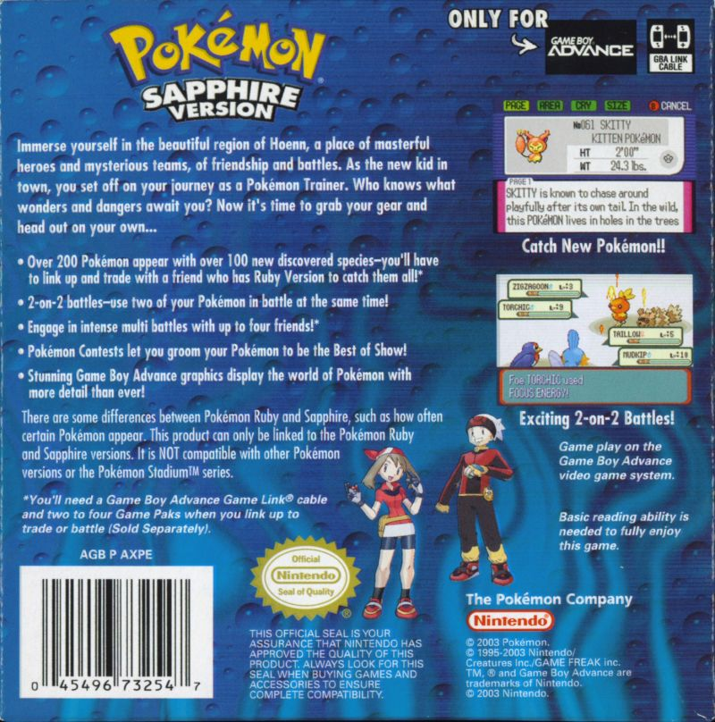 Pokémon Sapphire Version Game Boy Advance Back Cover