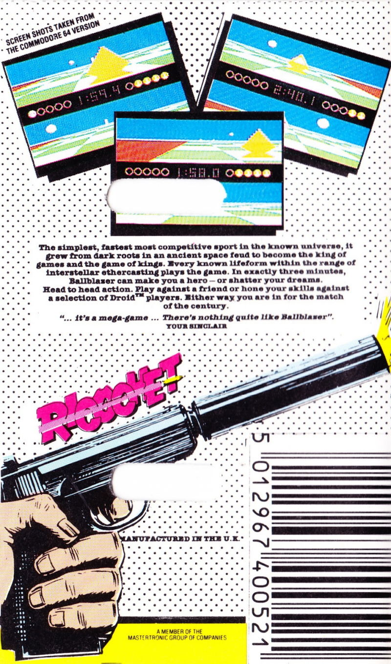 Ballblazer ZX Spectrum Back Cover