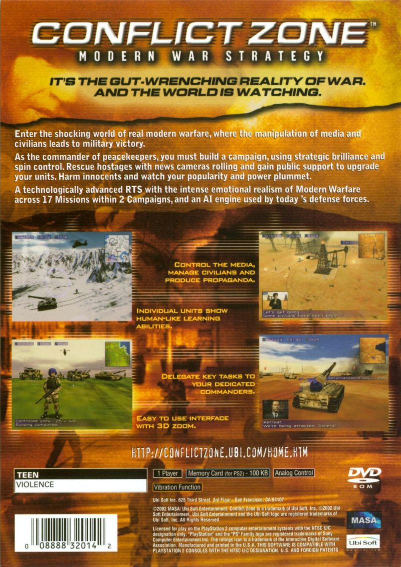 Conflict Zone PlayStation 2 Back Cover