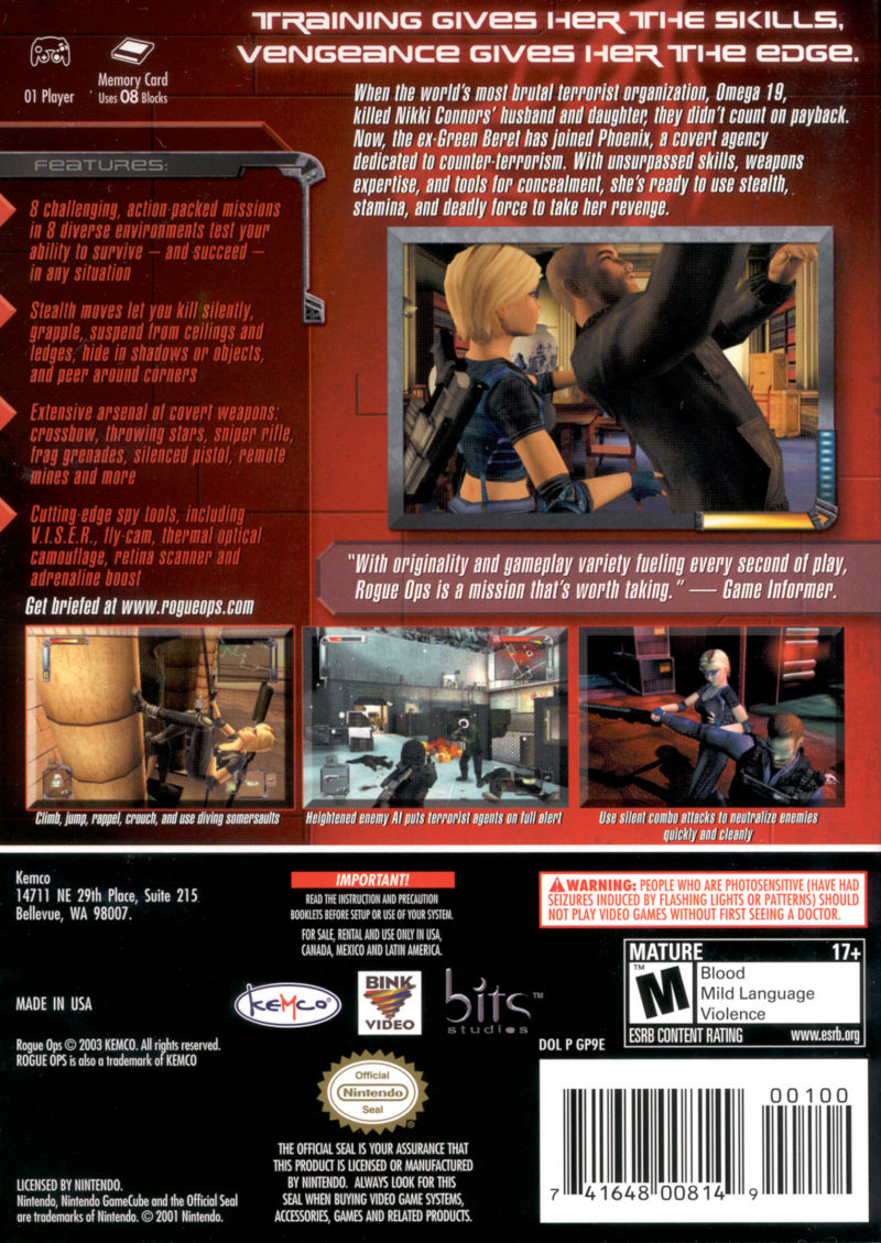 Rogue Ops GameCube Back Cover