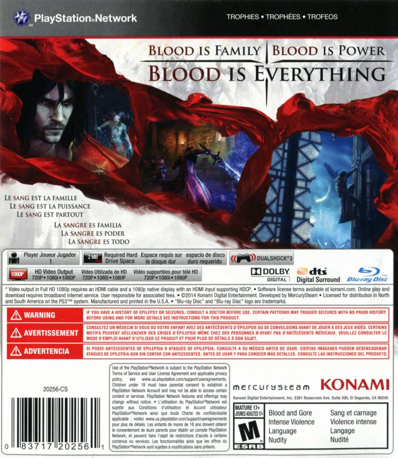 Castlevania: Lords of Shadow 2 PlayStation 3 Back Cover