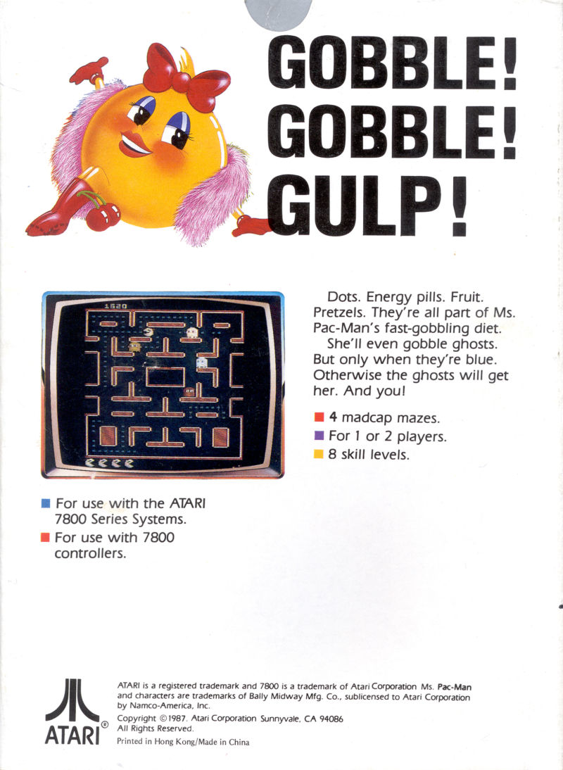 Ms. Pac-Man Atari 7800 Back Cover