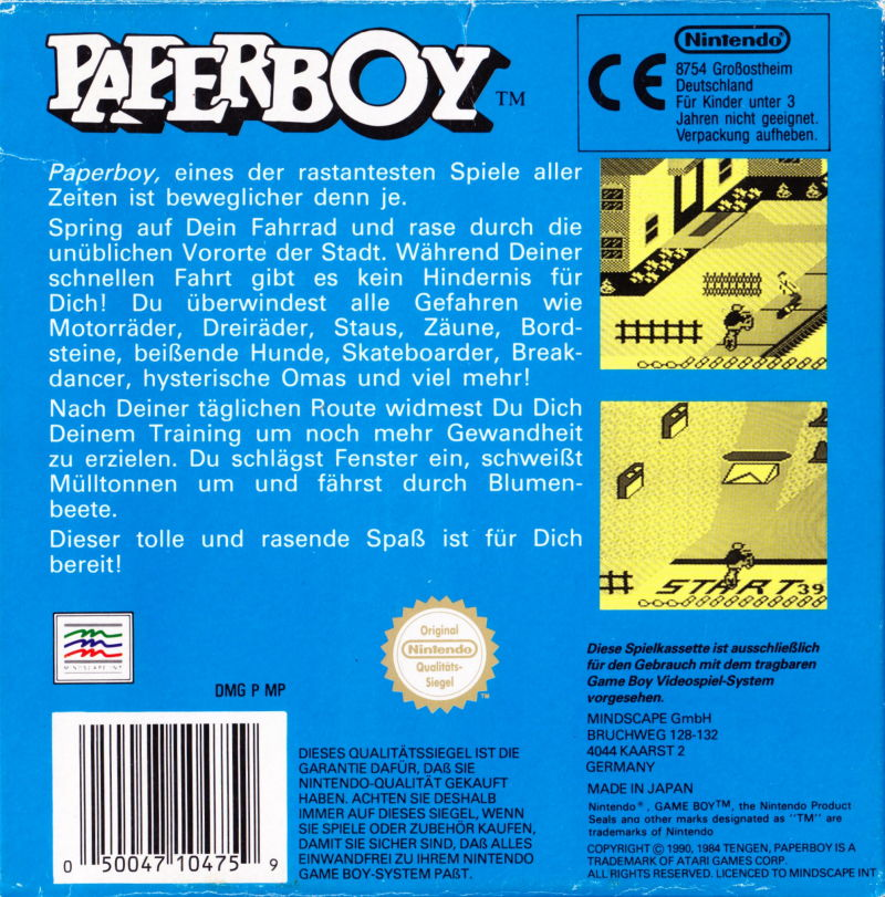 Paperboy (1990) Game Boy box cover art - MobyGames