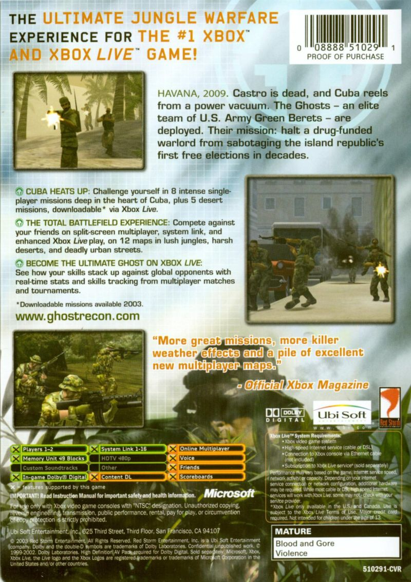 Tom Clancy's Ghost Recon: Island Thunder Xbox Back Cover