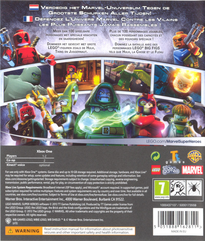 LEGO Marvel Super Heroes (2013) Xbox One box cover art - MobyGames