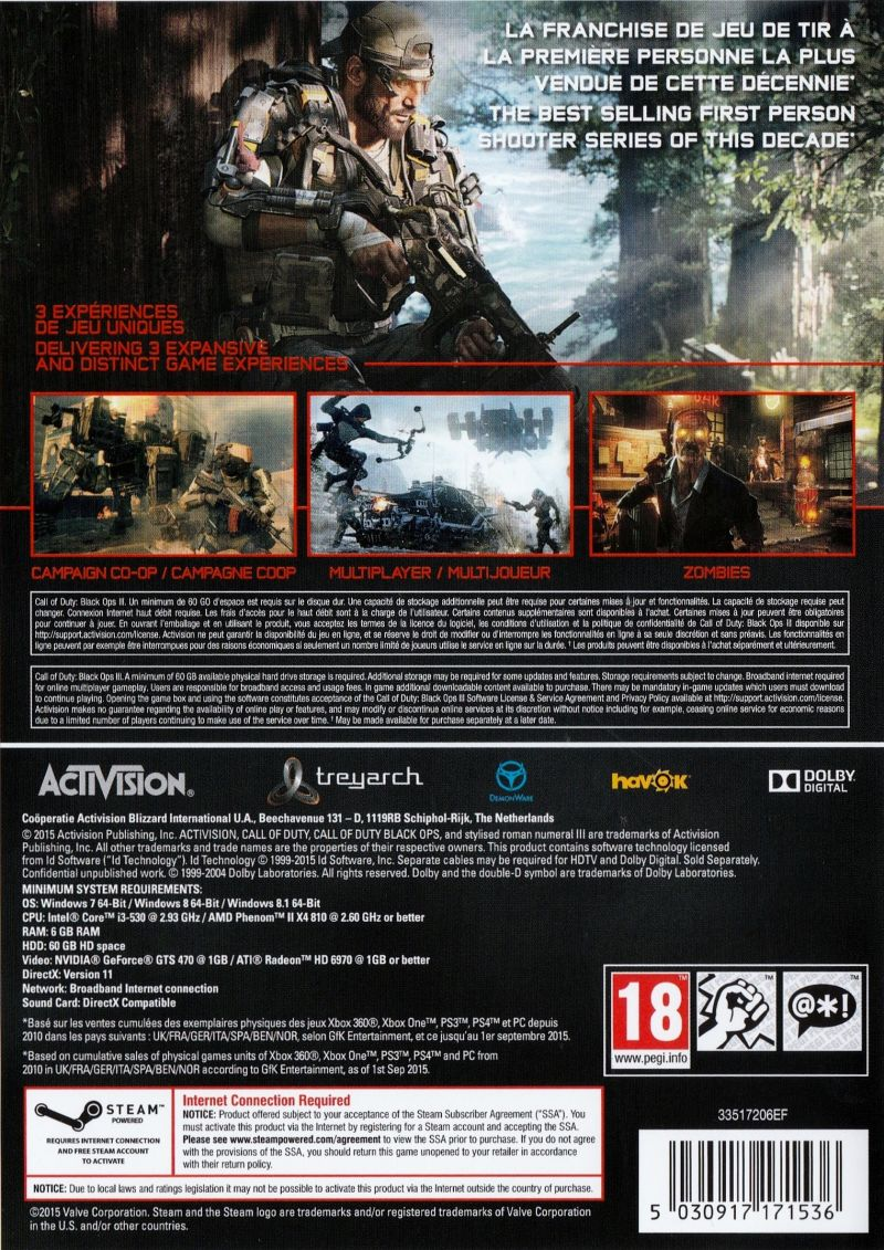 Call of Duty: Black Ops III (2015) PlayStation 3 box cover