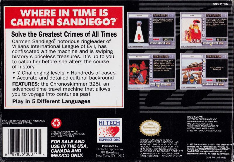 Where in Time Is Carmen Sandiego? SNES Other Inside Box Back