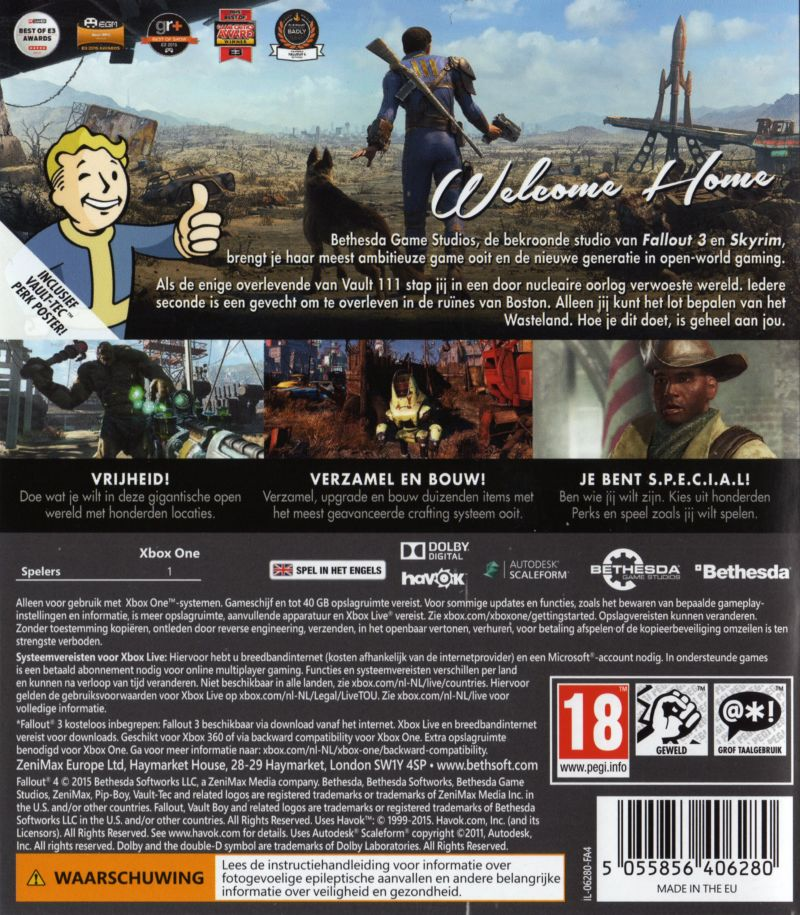 Xbox One Game Cover Back Fallout 4 (2014) PlayS...