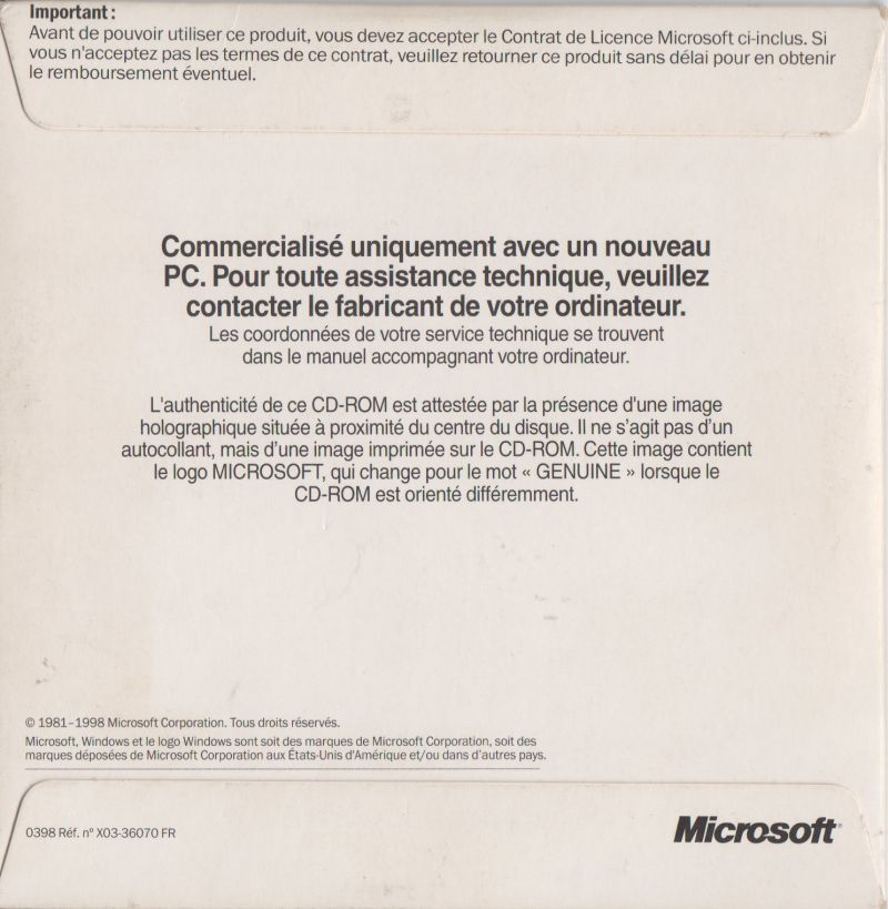 Microsoft Windows 98/98SE (included games) (1998) Windows