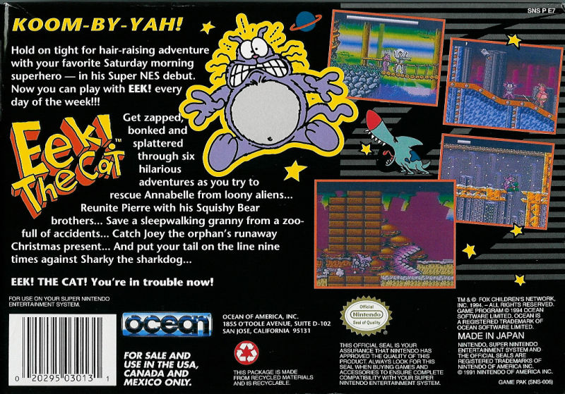Eek! the Cat SNES Back Cover