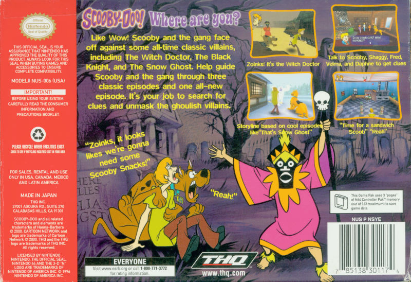 Scooby-Doo!: Classic Creep Capers Nintendo 64 Back Cover