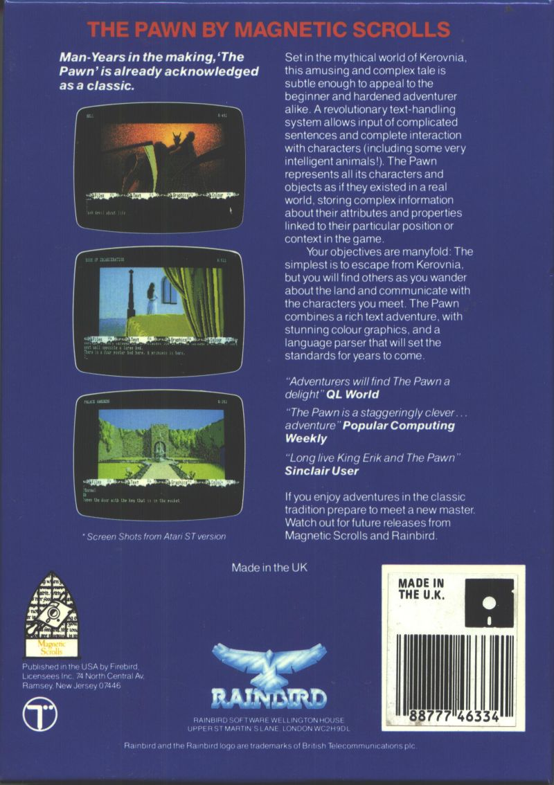The Pawn Commodore 64 Back Cover