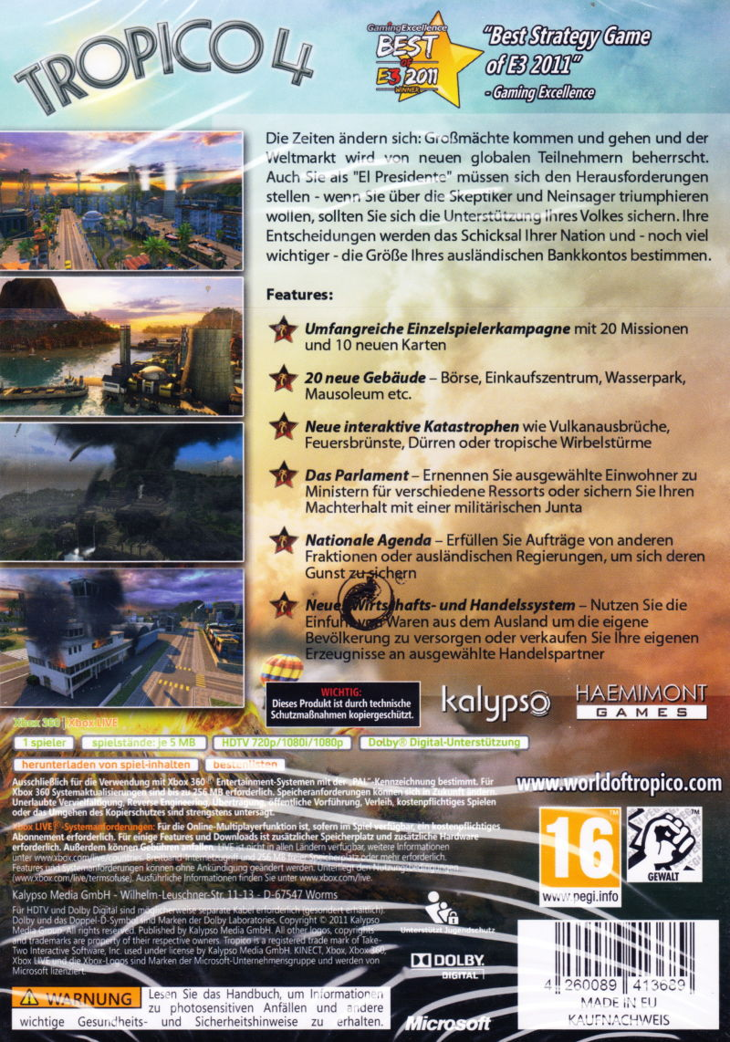 Tropico 4 Xbox 360 Other Keep Case - Back