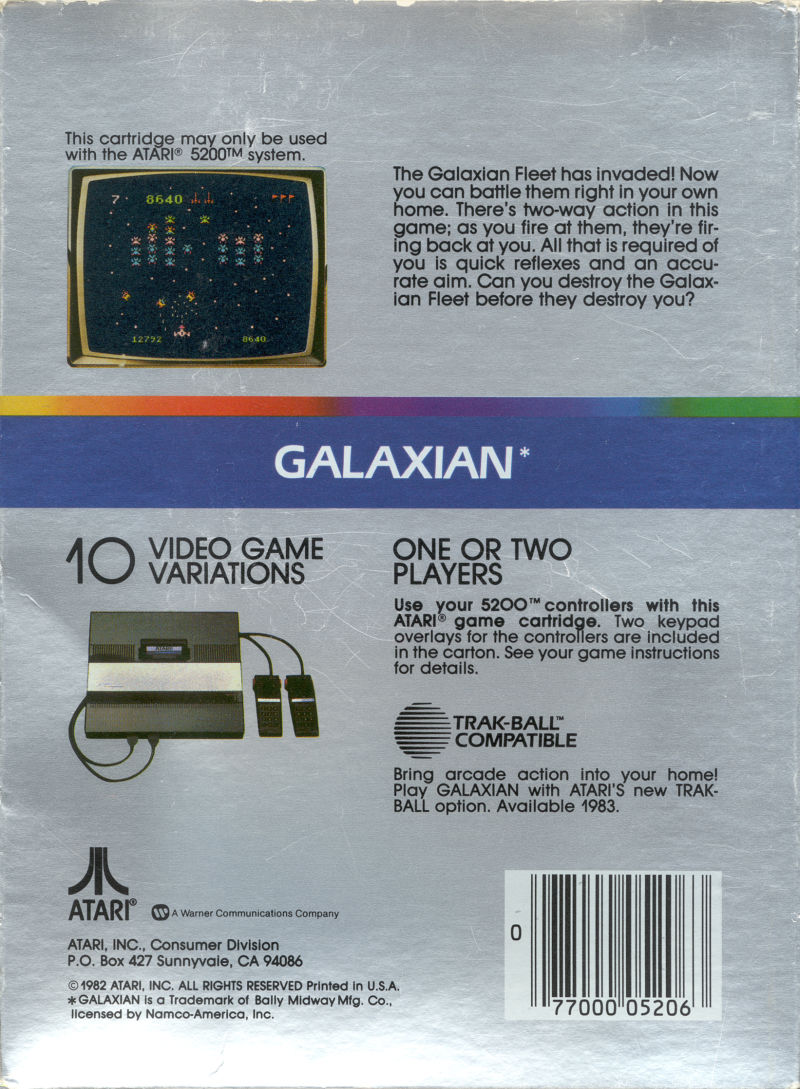 Galaxian Atari 5200 Back Cover