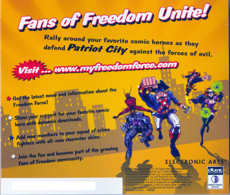 Freedom Force Windows Other Jewel Case - Back