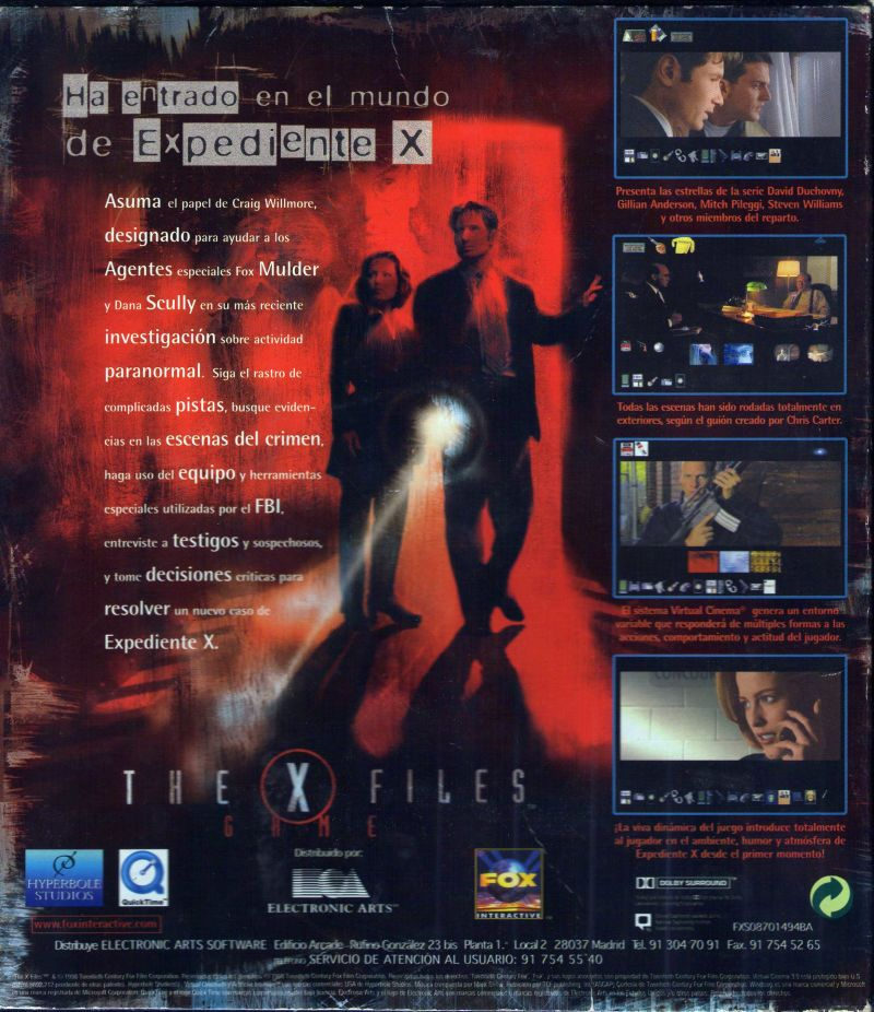 The X-Files Game Windows Back Cover