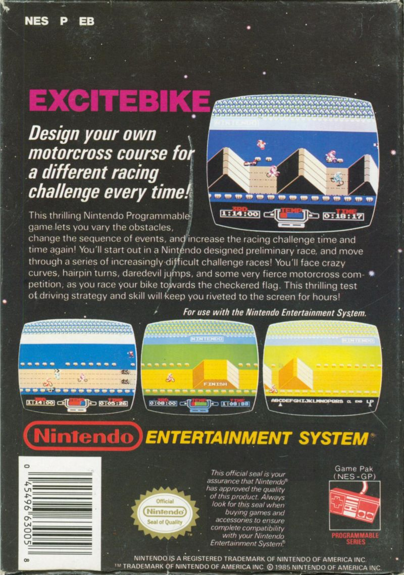 Excitebike NES Back Cover