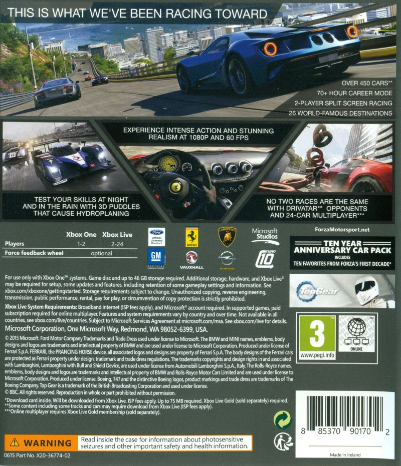 Forza Motorsport 6 Xbox One Back Cover