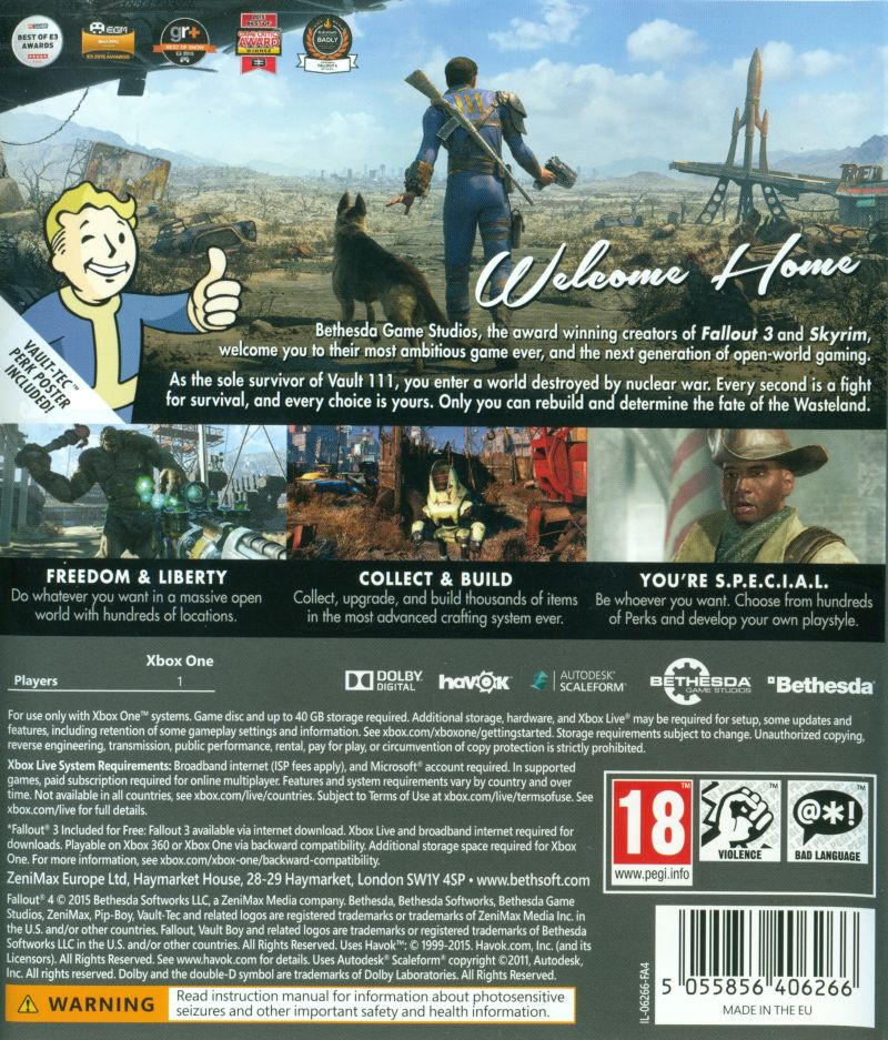 Xbox 1 Games Covers Fallout 4 (2015) Xbox ...