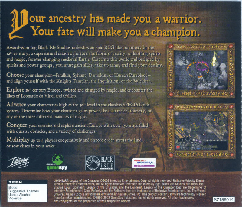 Lionheart: Legacy of the Crusader Windows Other Jewel Case - Back