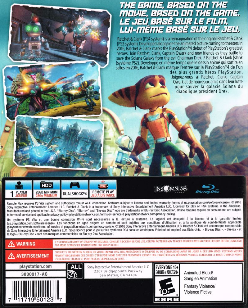 Ratchet & Clank (2016) PlayStation 4 box cover art - MobyGames