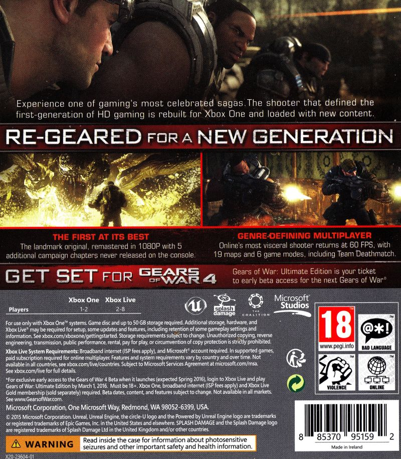 Xbox One Game Cover Back Gears of War: Ultimate...