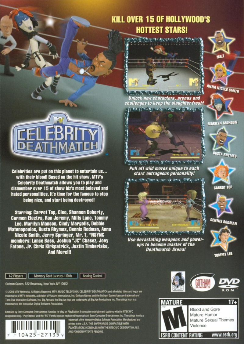 MTV Celebrity Deathmatch PlayStation 2 Back Cover