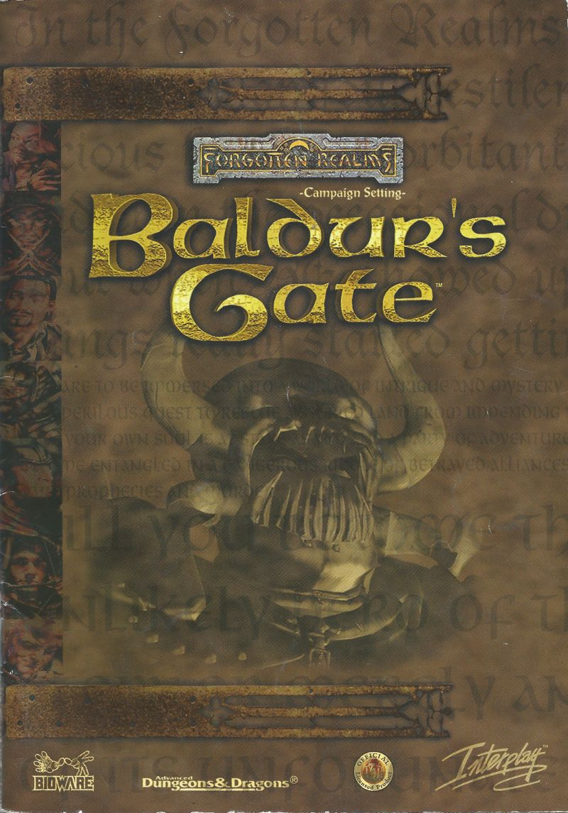 Baldur's Gate Windows Manual Front