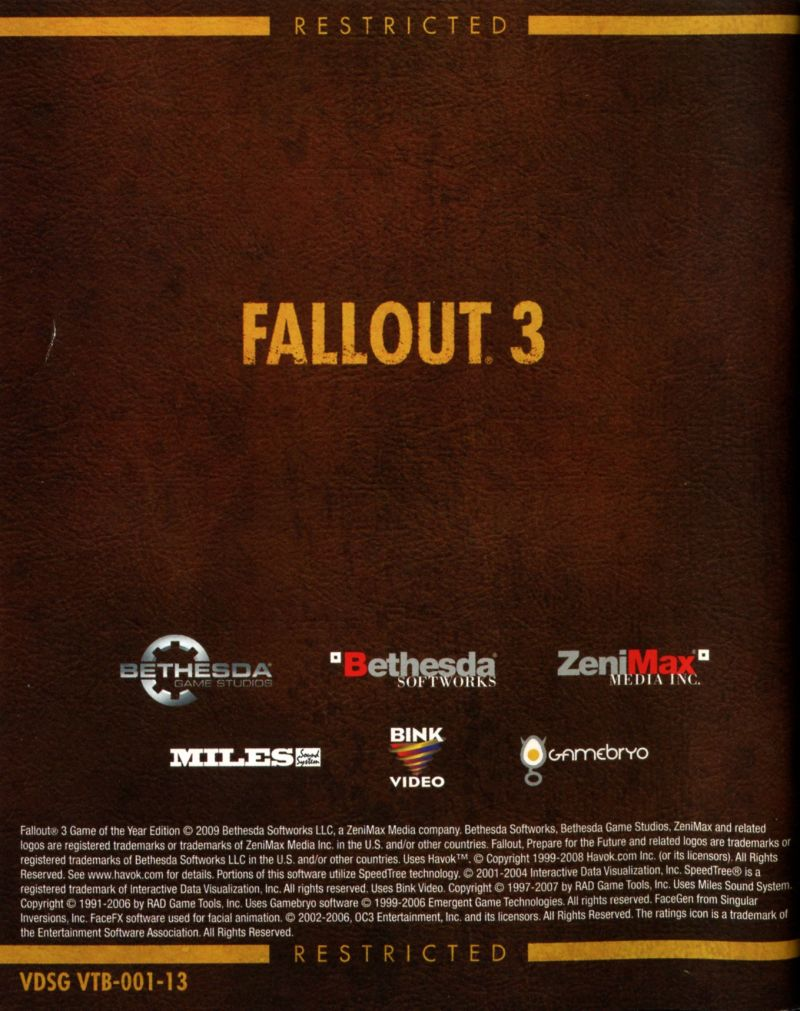 fallout 3 game of the year edition 2009 playstation 3 box cover rh mobygames com PlayStation 3 Manual Book How Made PlayStation 3 Manual