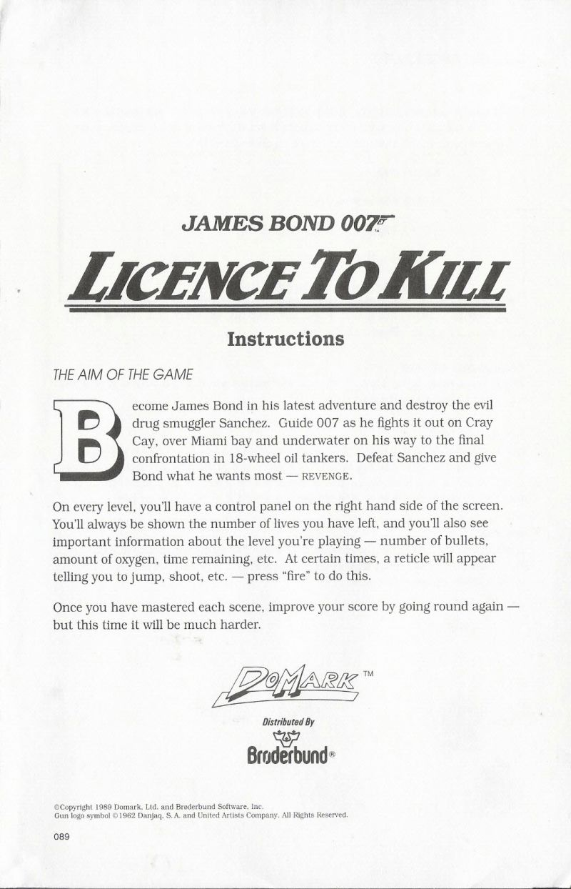 007: Licence to Kill DOS Extras Instructions
