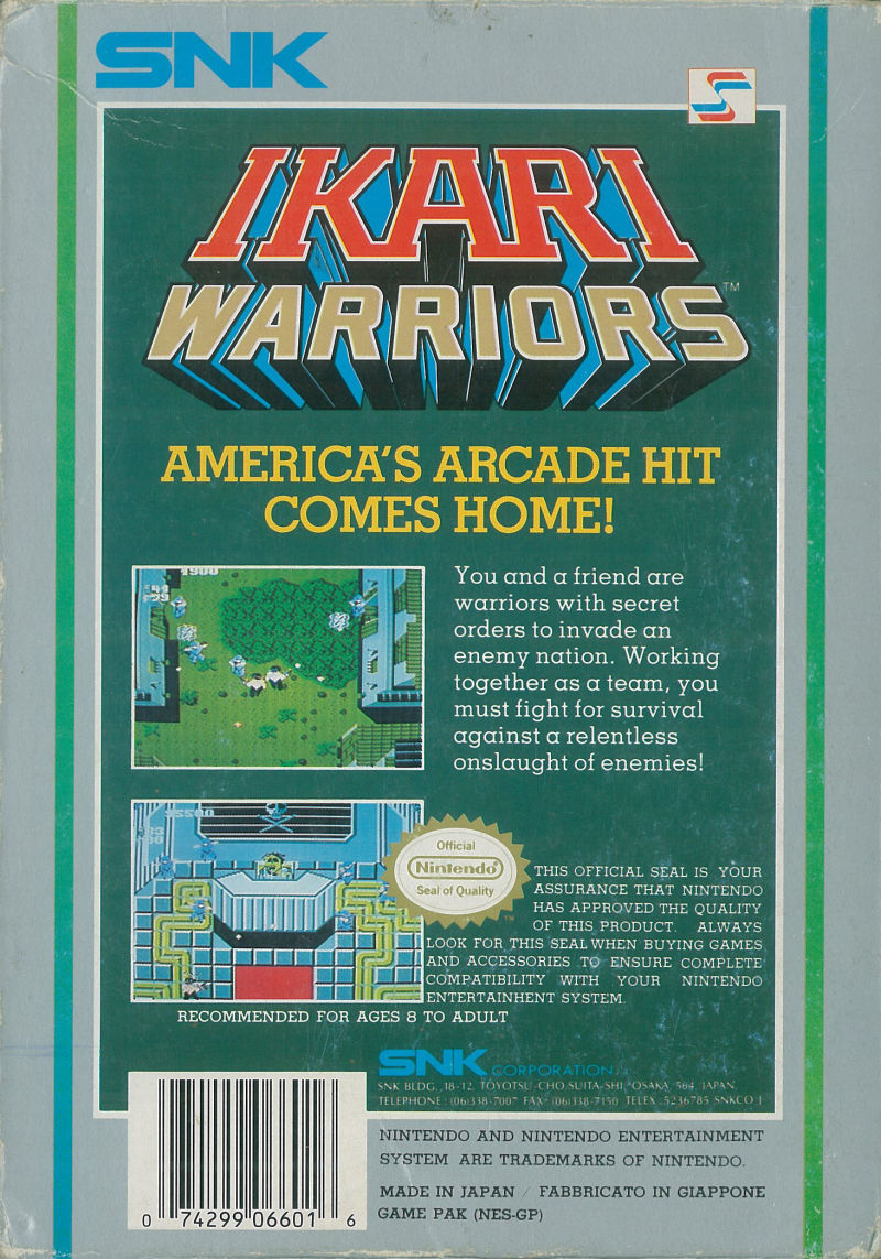 Ikari Warriors NES Back Cover