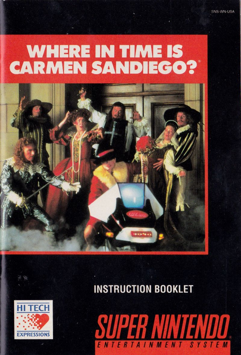 Where in Time Is Carmen Sandiego? SNES Manual Front