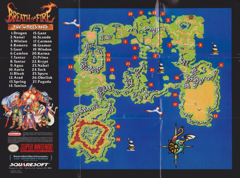 Breath Of Fire World Map Breath of Fire (1993) SNES box cover art   MobyGames