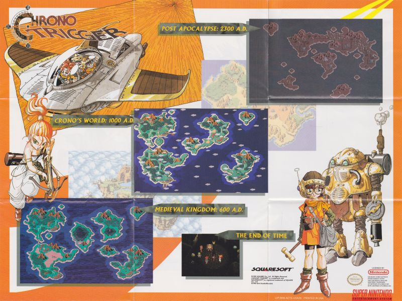 Chrono Trigger (1995) SNES box cover art - MobyGames on dragon age: inquisition map, dragon warrior vii map, animal crossing map, alex kidd in miracle world map, conker's bad fur day map, chrono cross map, pillars of eternity map, tales of hearts map, fire emblem map, grand knights history map, mighty bomb jack map, the elder scrolls v: skyrim map, mortal kombat x map, super ghouls 'n ghosts map, kingdom hearts birth by sleep map, baldur's gate ii map, grand theft auto: san andreas map, assassin's creed unity map, drakengard map, earthbound map,