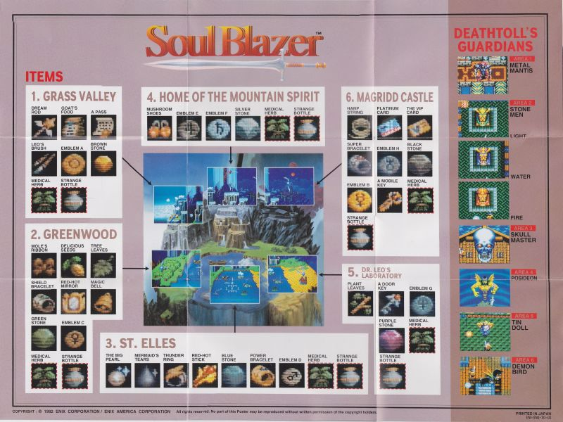Soul Blazer SNES Map