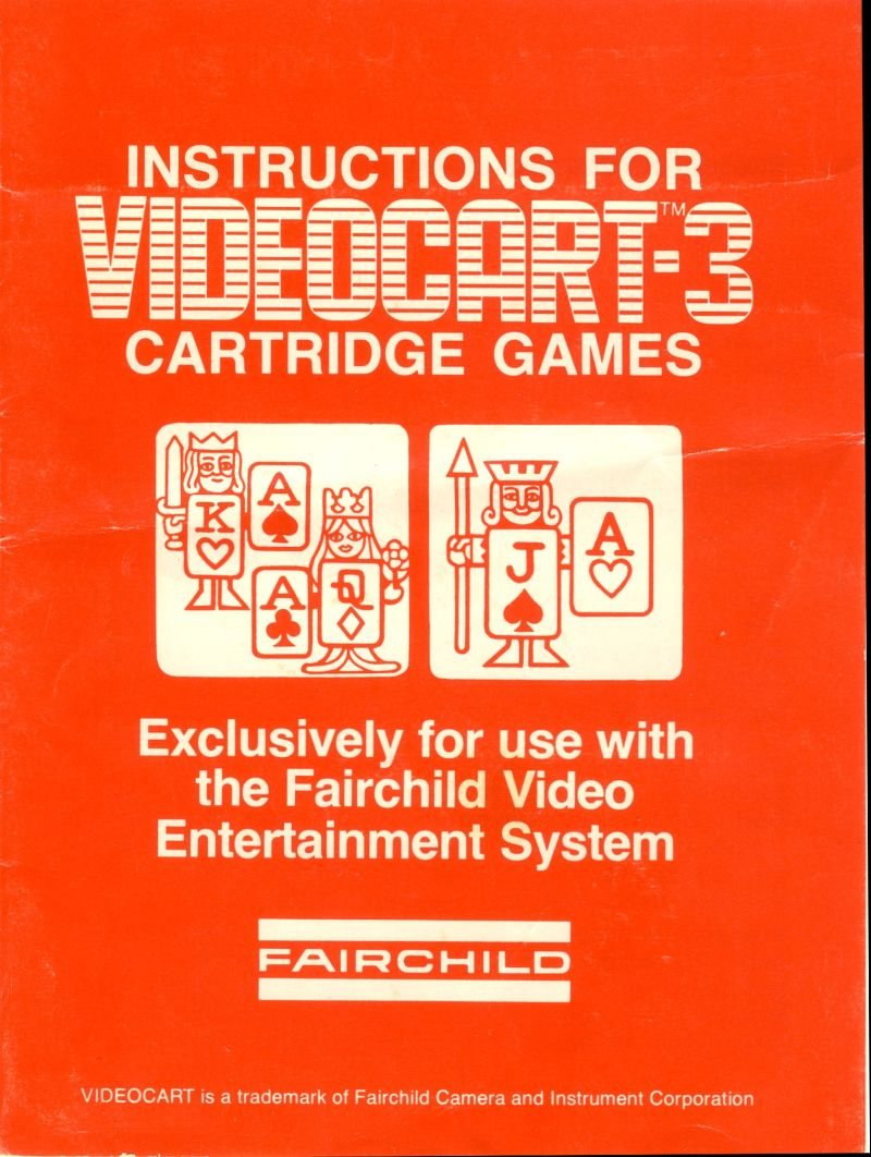Videocart 3 Video Blackjack 1976 Channel F Box Cover Art Mobygames