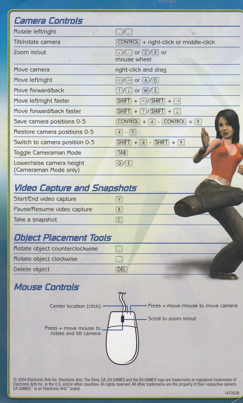 The Sims 2 Windows Reference Card Back