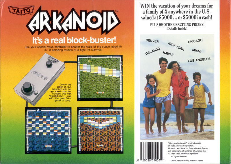 Arkanoid NES Back Cover