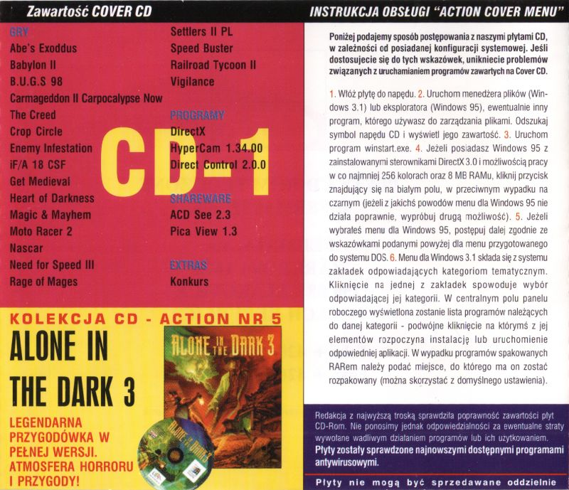 Alone in the Dark 3 DOS Other Jewel Case - Back