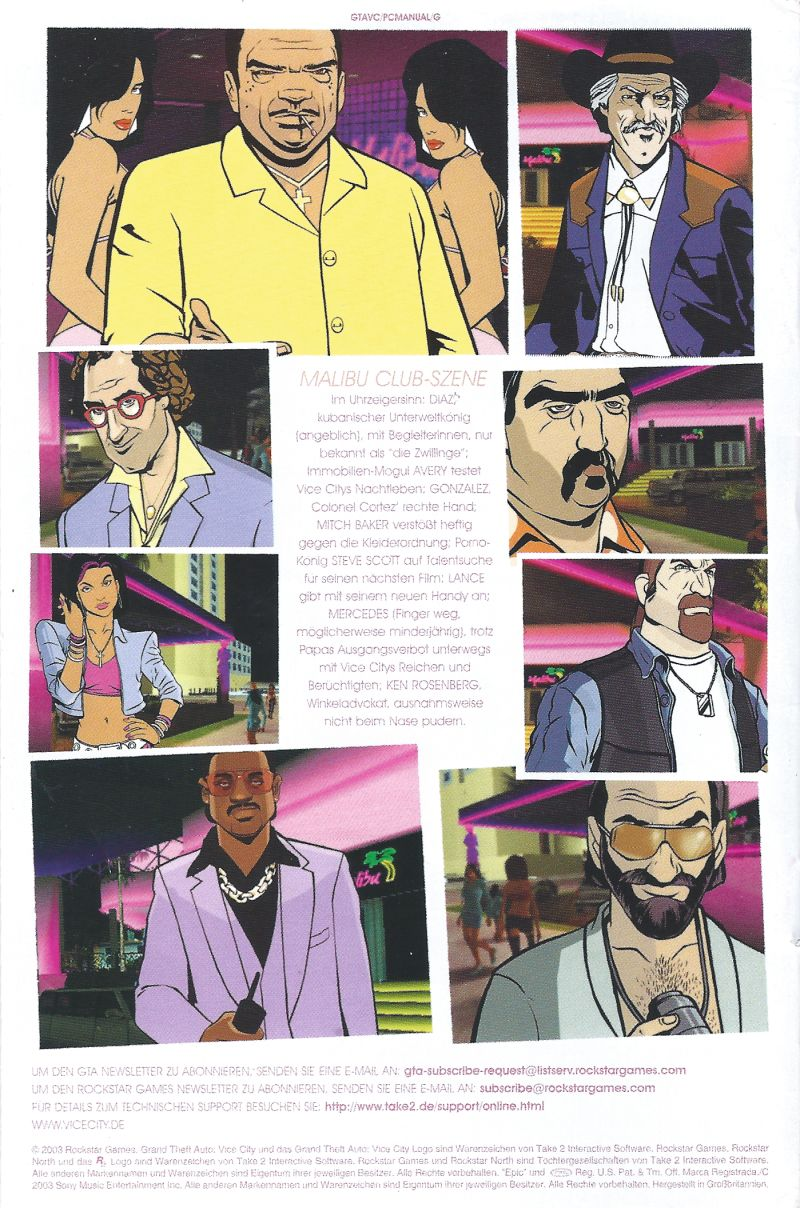 Grand Theft Auto: Vice City Windows Manual Back
