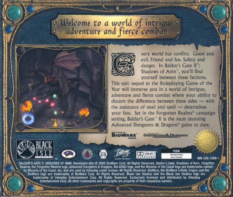 Baldur's Gate II: Shadows of Amn Windows Other Jewel Case - Back