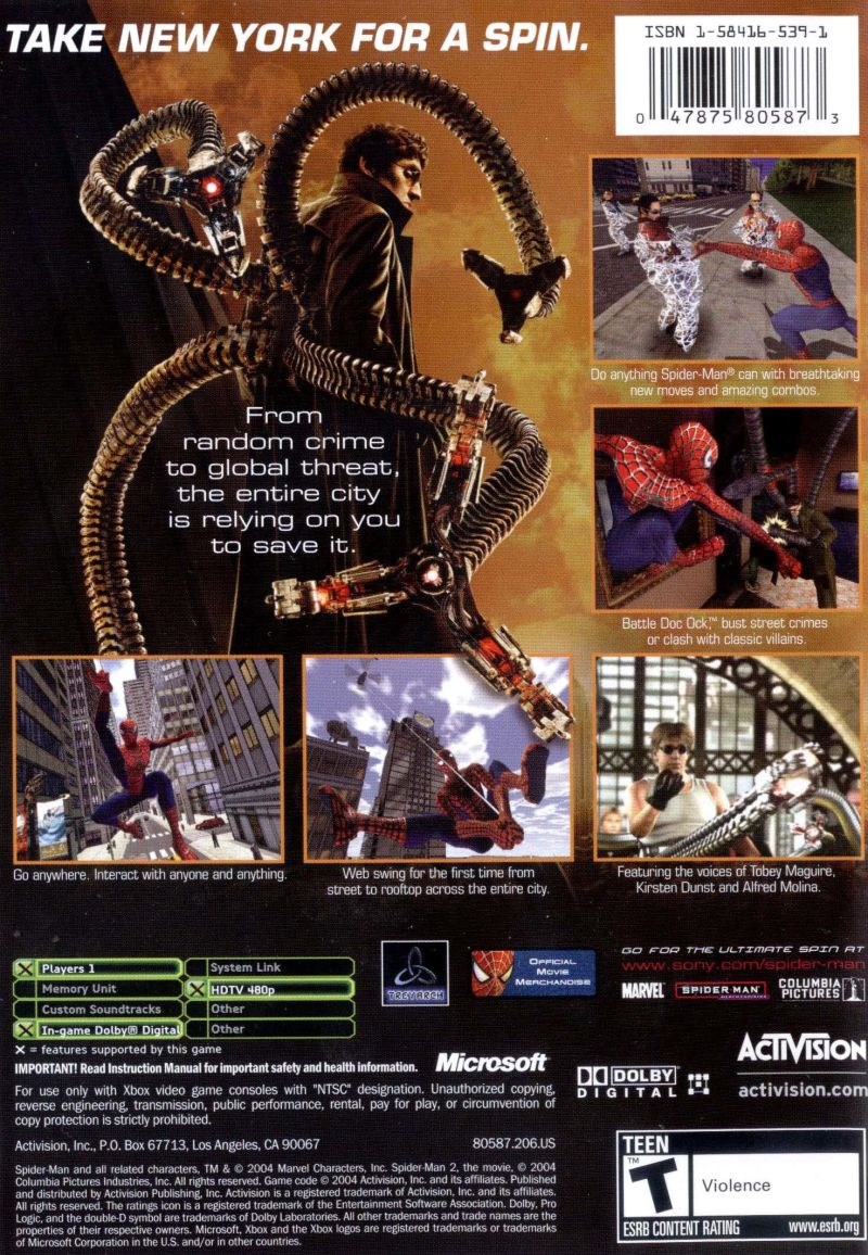 Spider-Man 2 Xbox Back Cover