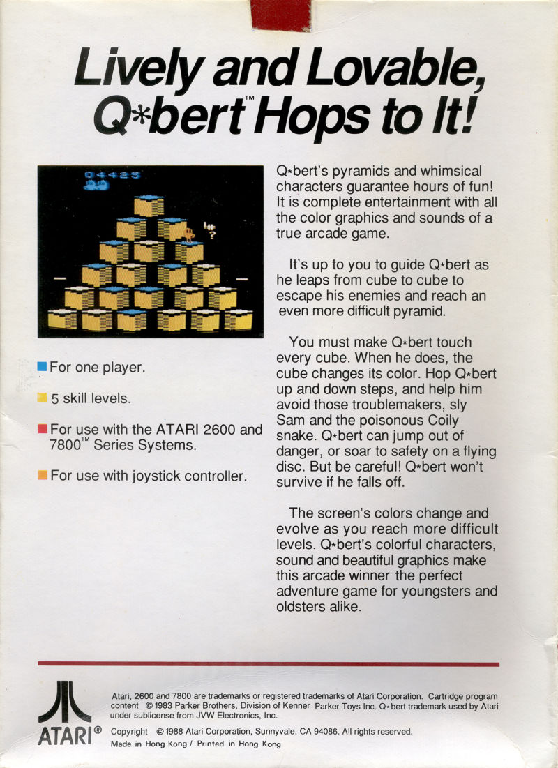 Q*bert Atari 2600 Back Cover