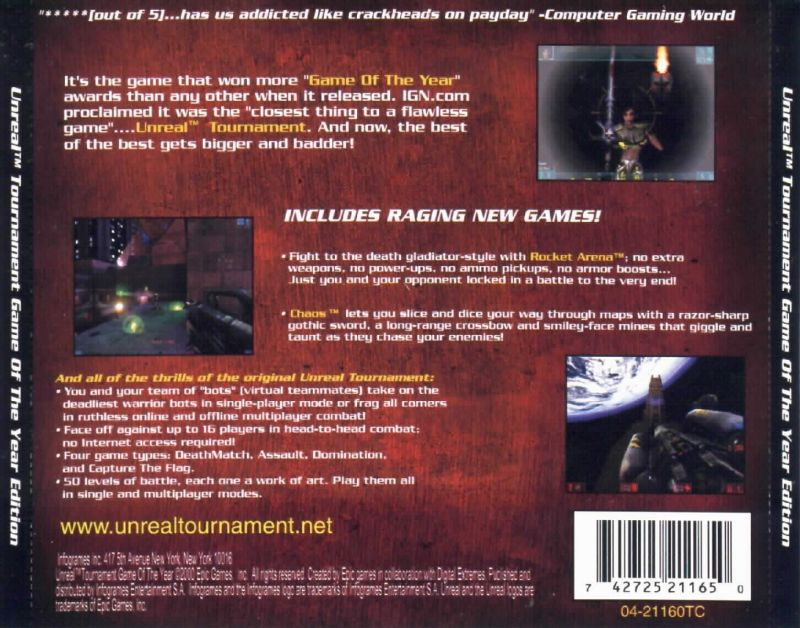 Unreal Tournament: Game of the Year Edition Windows Other Jewel Case - Back