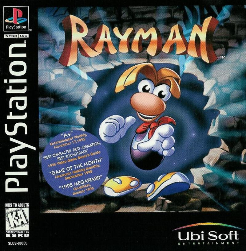 Rayman PlayStation Front Cover Also a manual
